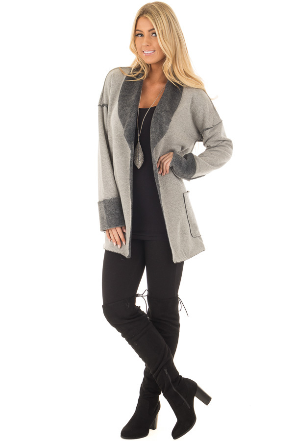 Heather Grey Cardigan with Super Soft Charcoal Lining front full body