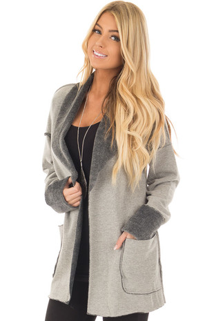 Heather Grey Cardigan with Super Soft Charcoal Lining front close up