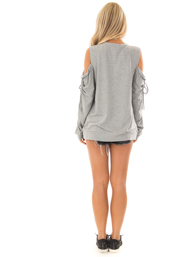 Heather Grey Long Sleeve Cold Shoulder Sweater back full body