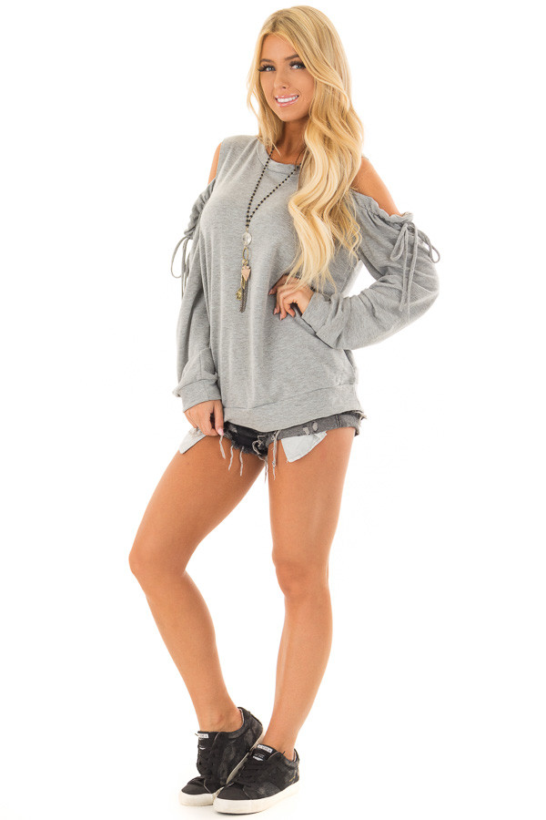 Heather Grey Long Sleeve Cold Shoulder Sweater front full body