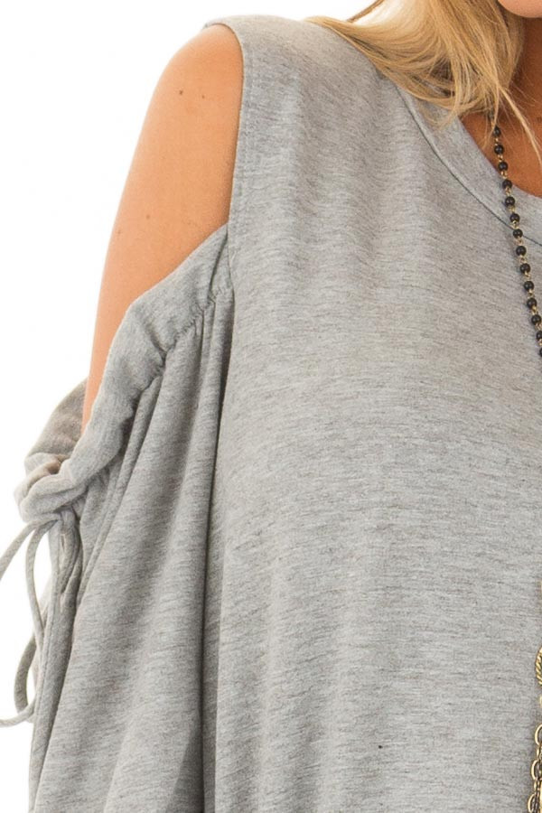 Heather Grey Long Sleeve Cold Shoulder Sweater detail