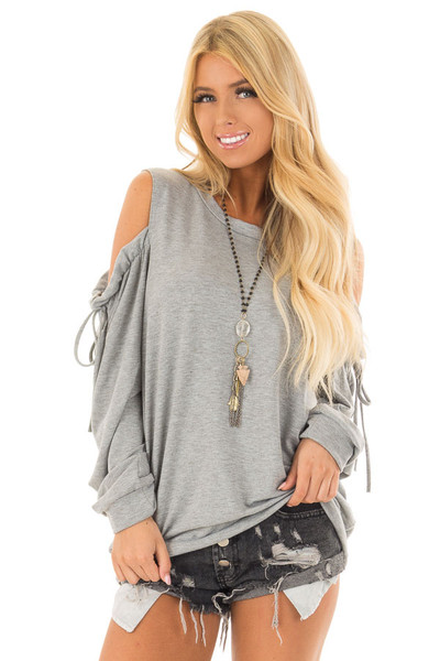 Heather Grey Long Sleeve Cold Shoulder Sweater front close up
