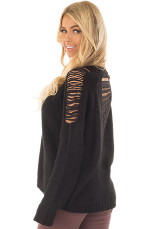 Black Sweater with Distressed Details on Shoulders and Back front closeup