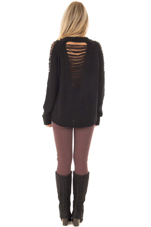 Black Sweater with Distressed Details on Shoulders and Back back full body