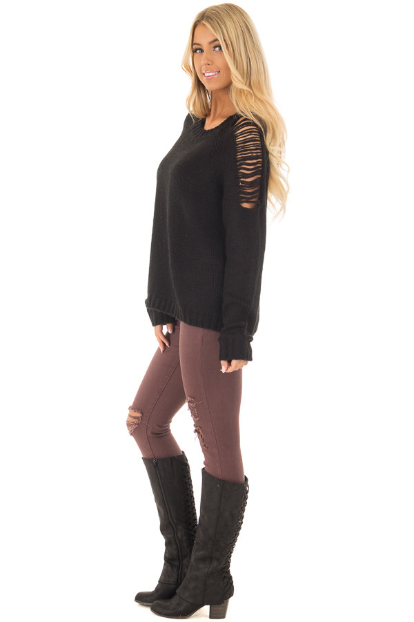 Black Sweater with Distressed Details on Shoulders and Back side full body
