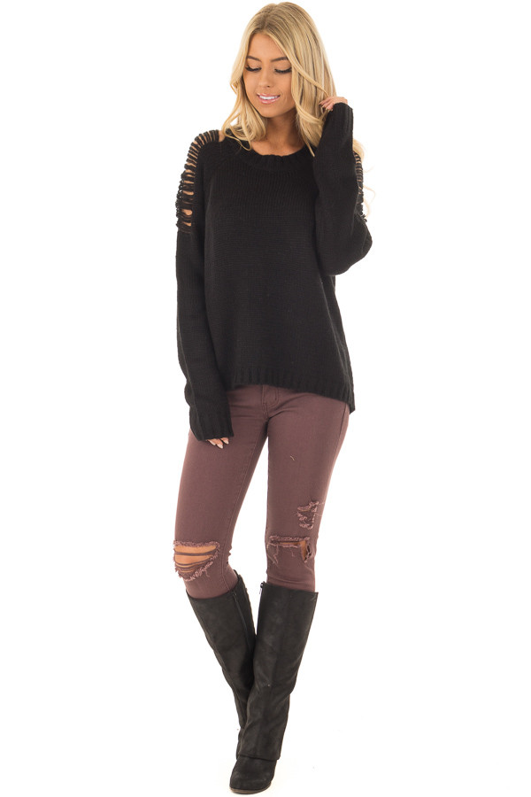 Black Sweater with Distressed Details on Shoulders and Back front full body