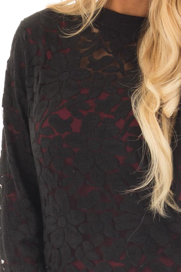 Black Floral Sheer Lace Long Sleeve Top front detail