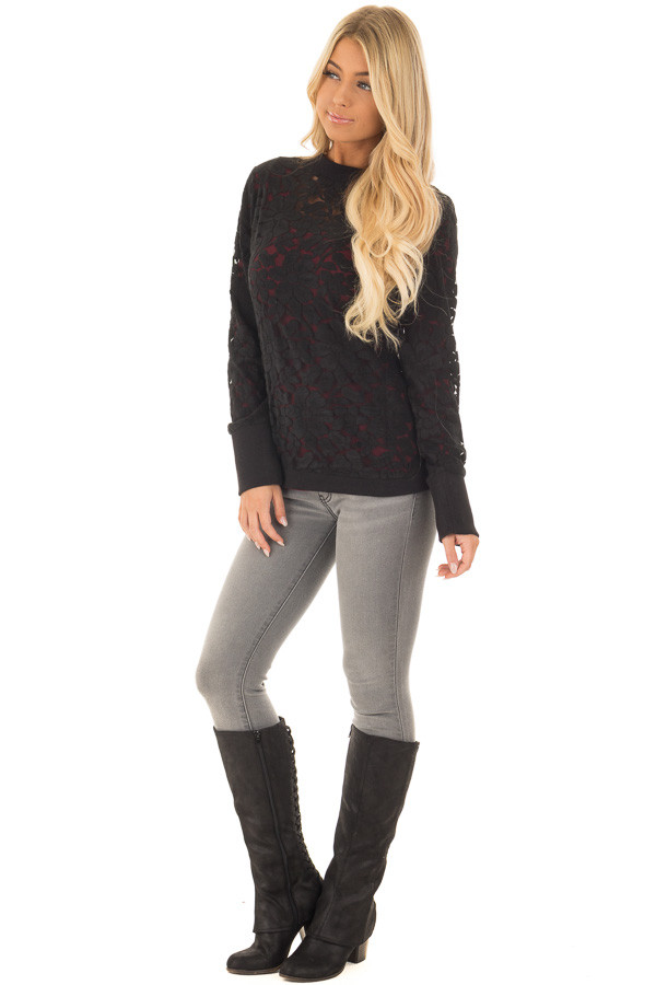Black Floral Sheer Lace Long Sleeve Top front full body