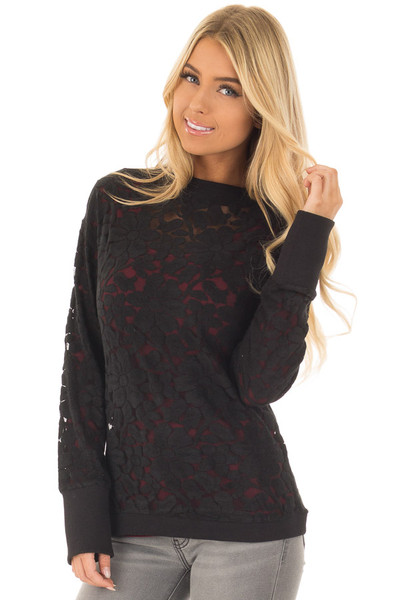 Black Floral Sheer Lace Long Sleeve Top front closeup