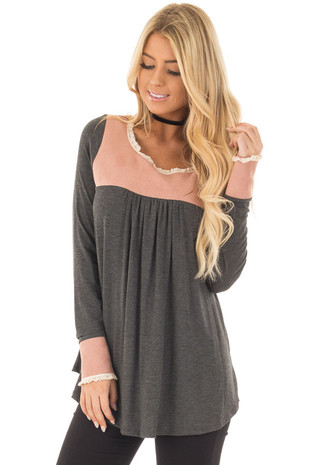 Charcoal Top with Faux Suede Contrast and Crochet Trim front close up