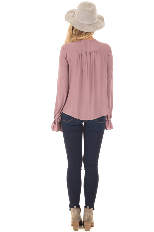 Mauve Overlap Woven Blouse with Ruffle Detail Sleeve back full body