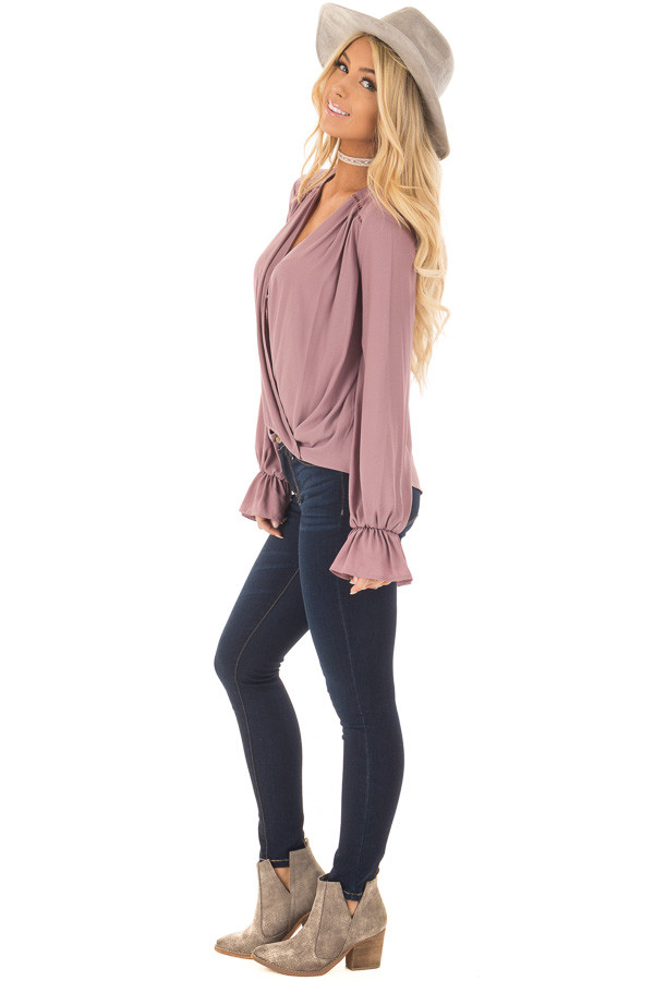 Mauve Overlap Woven Blouse with Ruffle Detail Sleeve side full body