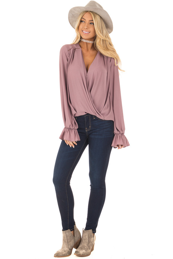 Mauve Overlap Woven Blouse with Ruffle Detail Sleeve front full body