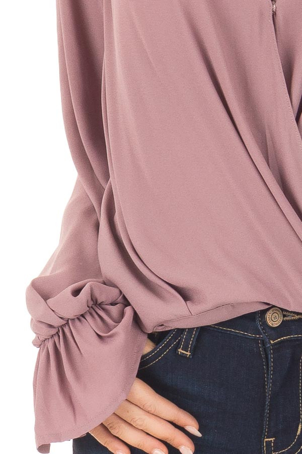 Mauve Overlap Woven Blouse with Ruffle Detail Sleeve detail