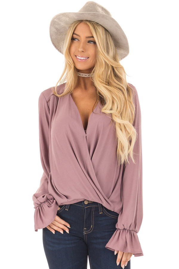 Mauve Overlap Woven Blouse with Ruffle Detail Sleeve front close up