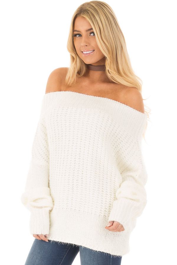 Ivory Off the Shoulder Long Sleeve Sweater front close up