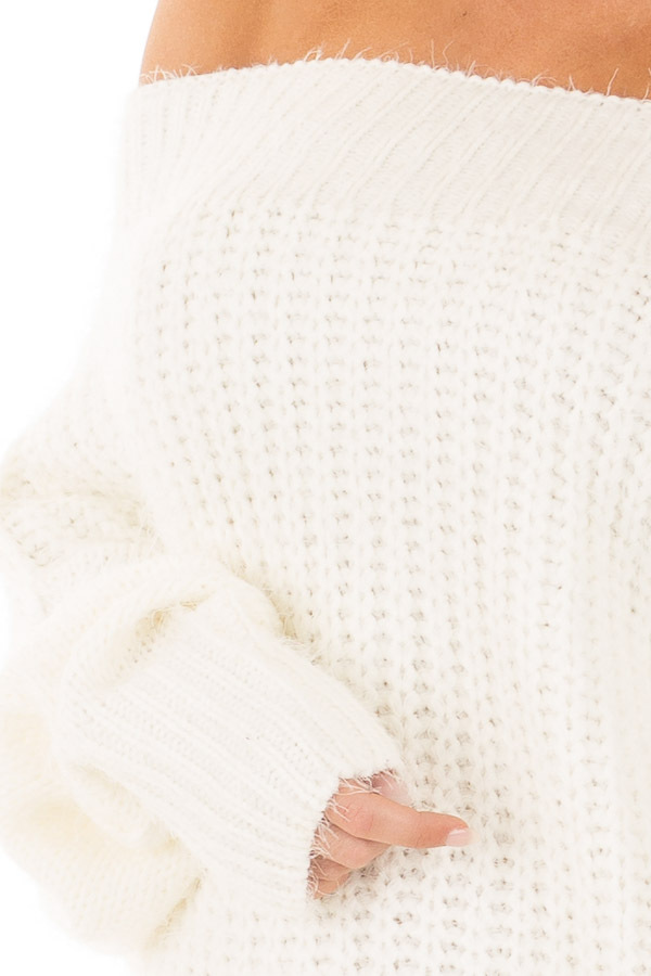 Ivory Off the Shoulder Long Sleeve Sweater detail