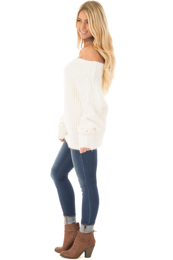 Ivory Off the Shoulder Long Sleeve Sweater side full body
