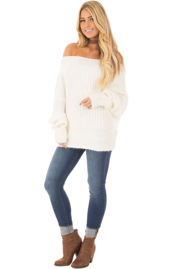 Ivory Off the Shoulder Long Sleeve Sweater front full body
