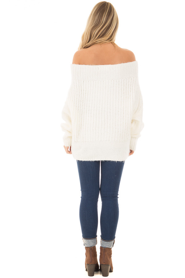 Ivory Off the Shoulder Long Sleeve Sweater back full body