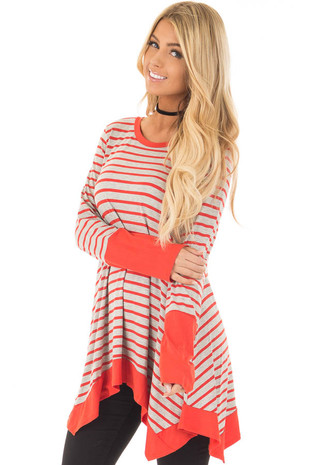 Rust and Heather Grey Striped Long Sleeve Top front close up