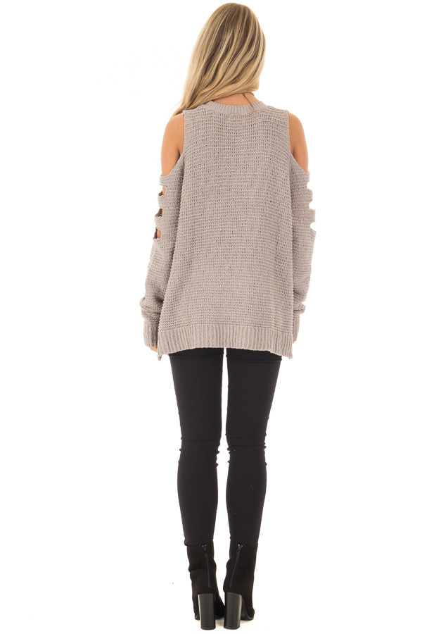 Cloud Grey Cut Out Cold Shoulder Long Sleeve Top back  full body