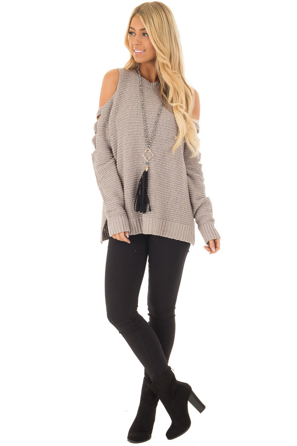 Cloud Grey Cut Out Cold Shoulder Long Sleeve Top front full body