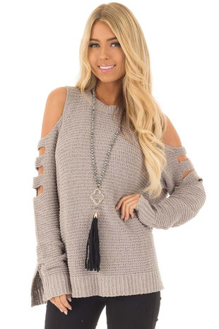 Cloud Grey Cut Out Cold Shoulder Long Sleeve Top front closeup