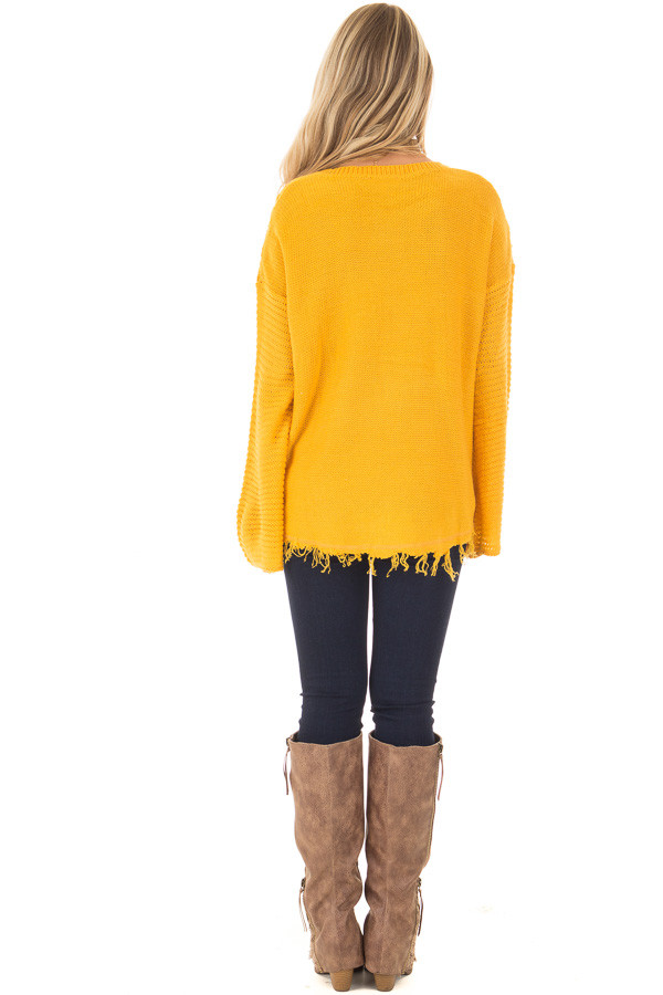 Mustard Cable Knit Sweater back full body