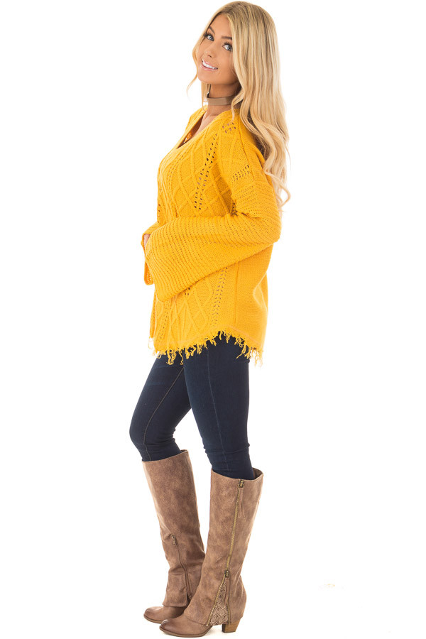 Mustard Cable Knit Sweater side full body