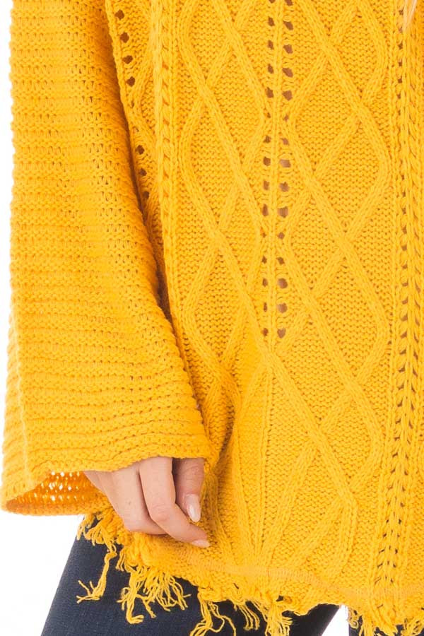 Mustard Cable Knit Sweater detail