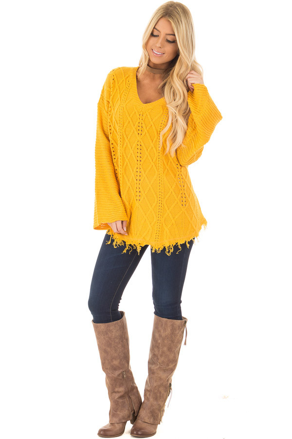 Mustard Cable Knit Sweater front full body
