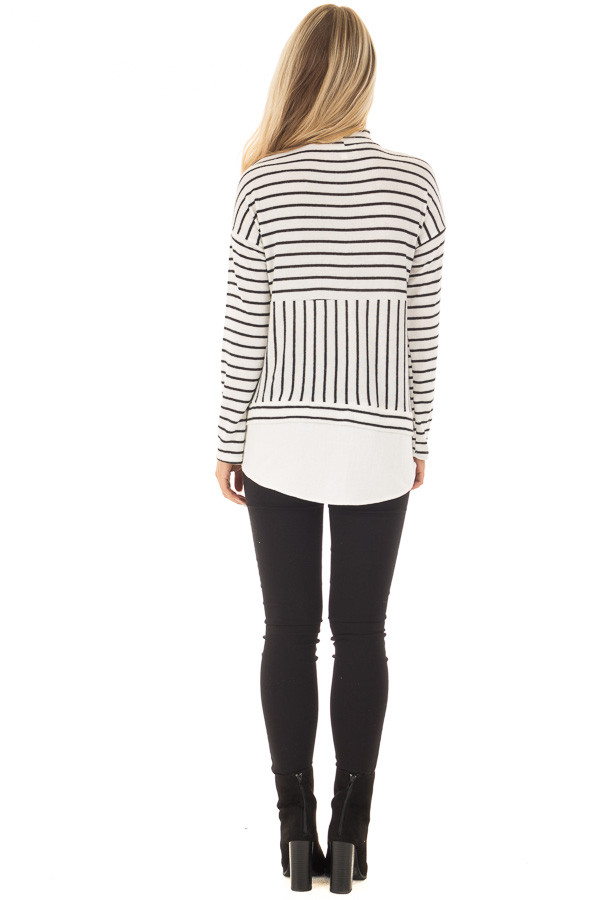 Black and White Striped Mock Neck Top with Contrast Hemline back full body