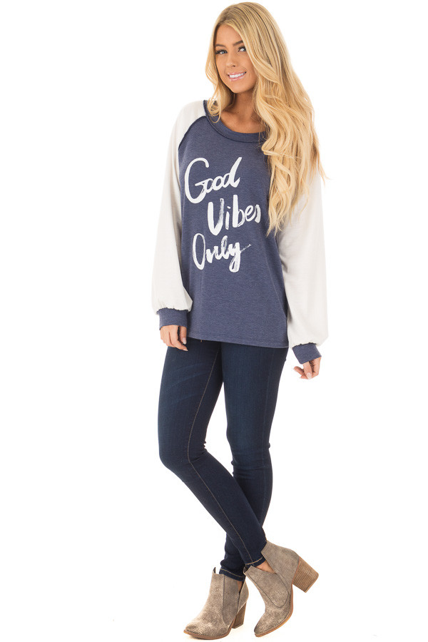 Navy 'Good Vibes Only' Raglan Tee front full body
