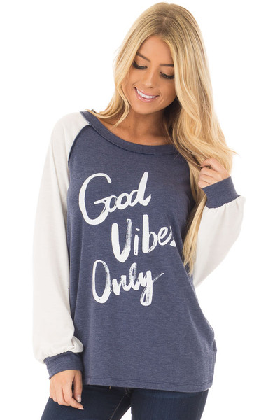 Navy 'Good Vibes Only' Raglan Tee front close up