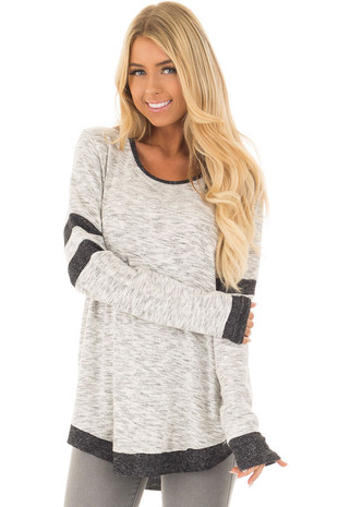 Heather Grey Two Tone Long Sleeve Top front closeup