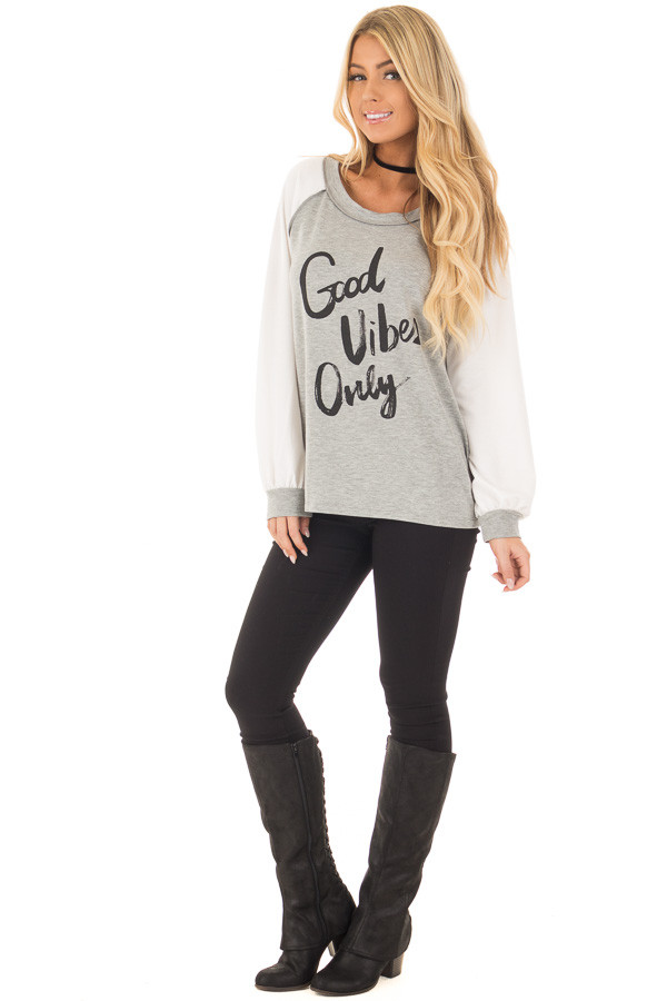 Heather Grey 'Good Vibes Only' Raglan Tee front full body