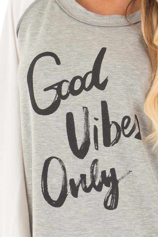 Heather Grey 'Good Vibes Only' Raglan Tee detail