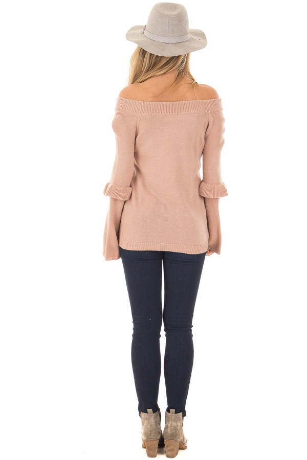 Dusty Pink Cold Shoulder Sweater with Ruffle Details back full body