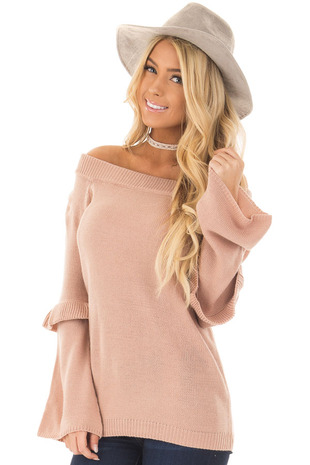 Dusty Pink Cold Shoulder Sweater with Ruffle Details front close up