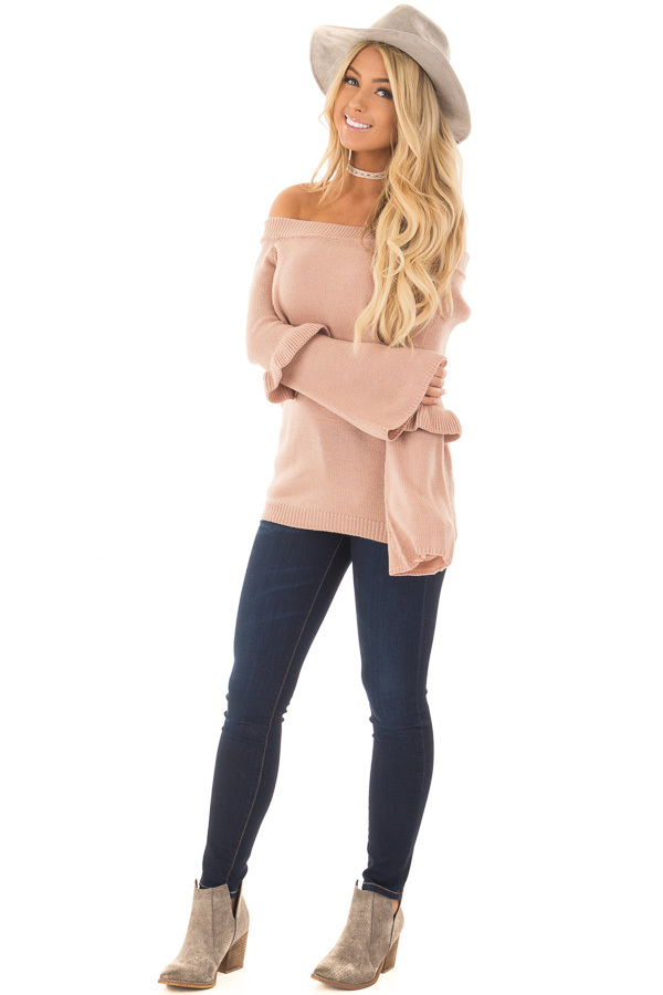 Dusty Pink Cold Shoulder Sweater with Ruffle Details front full body