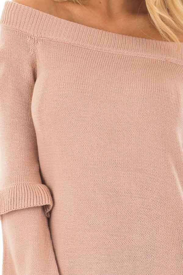 Dusty Pink Cold Shoulder Sweater with Ruffle Details detail