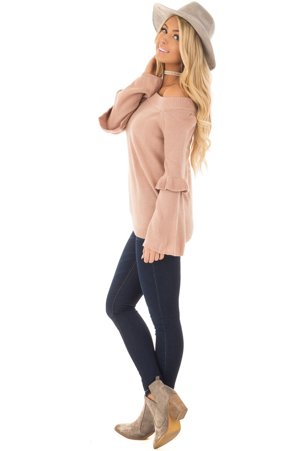 Dusty Pink Cold Shoulder Sweater with Ruffle Details side full body