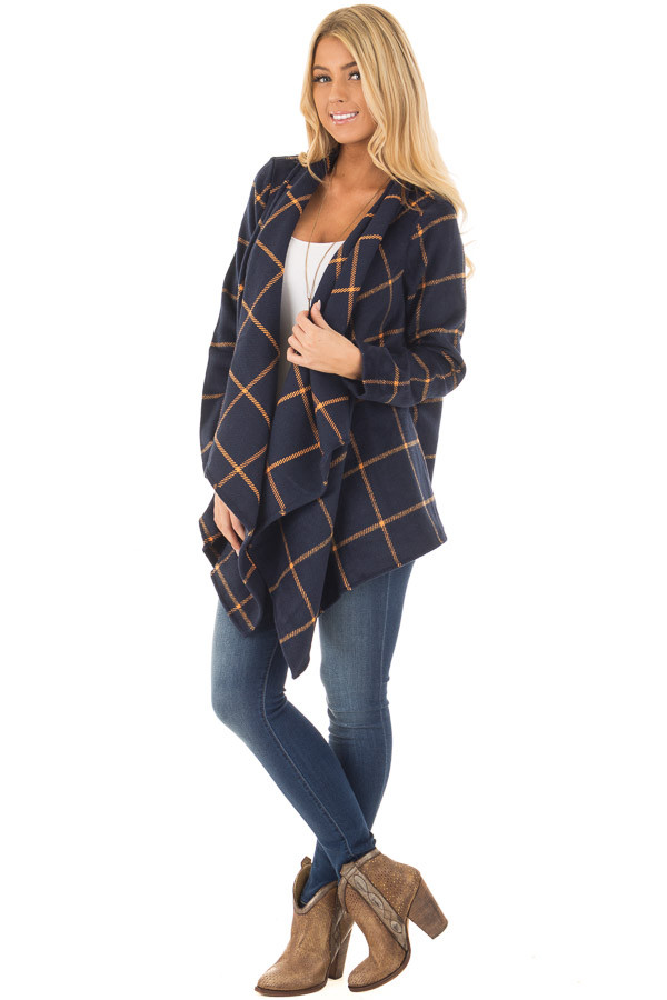 Navy Long Sleeve Thick Knit Cardigan - Lime Lush Boutique
