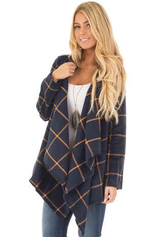 Navy Long Sleeve Thick Knit Cardigan front close up
