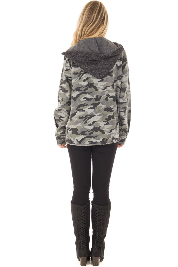 Charcoal Camo Button Up Jacket with Hood and Front Pockets back full body