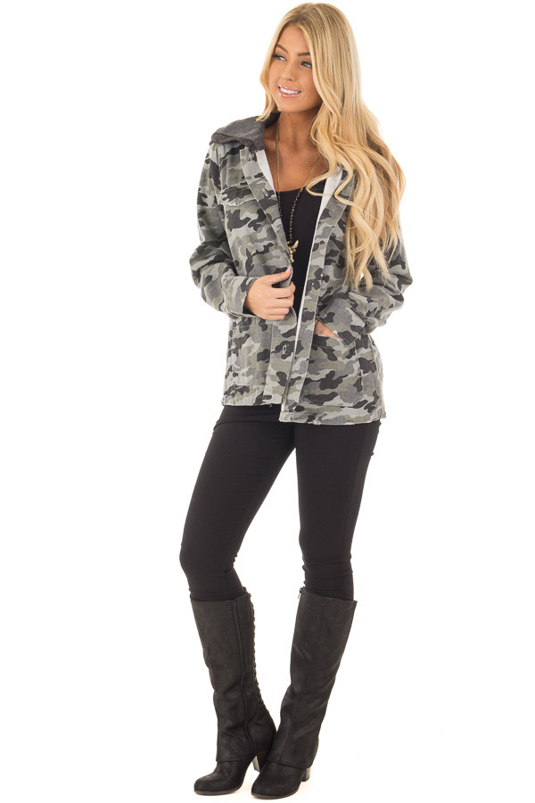 Charcoal Camo Button Up Jacket with Hood and Front Pockets front full body