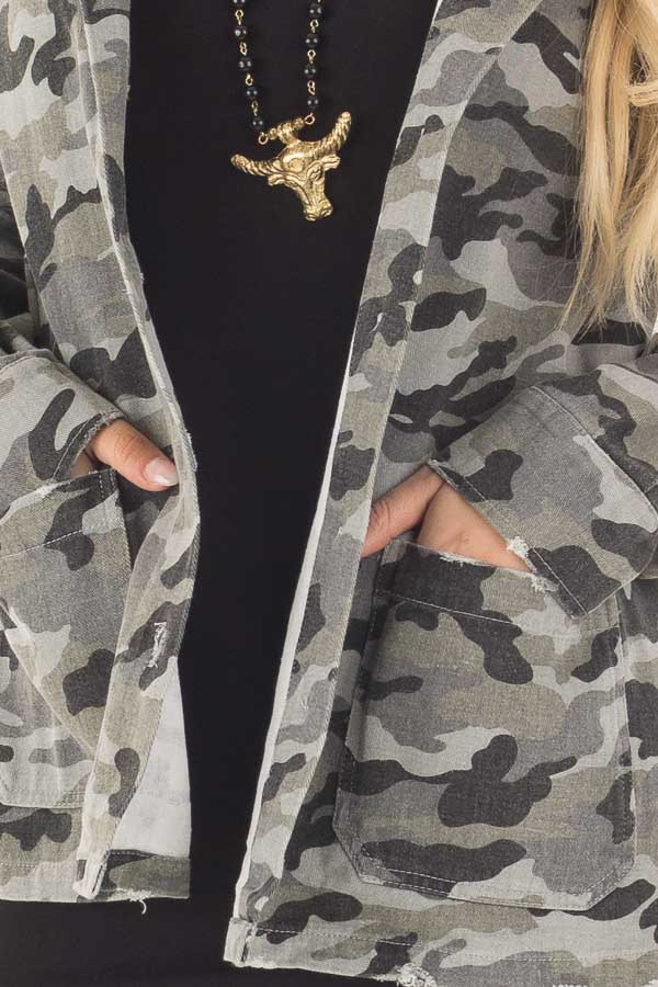 Charcoal Camo Button Up Jacket with Hood and Front Pockets detail