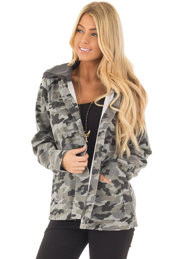 Charcoal Camo Button Up Jacket with Hood and Front Pockets front close up