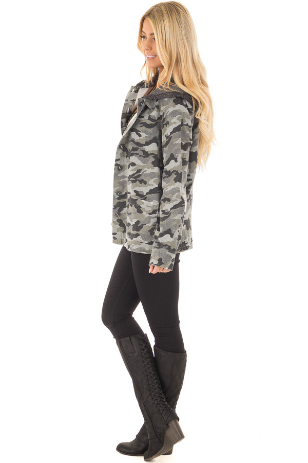 Charcoal Camo Button Up Jacket with Hood and Front Pockets side full body